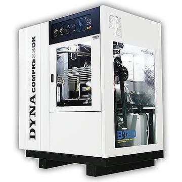 DYNA COMPRESSOR (スクリューコンプレッサー) ドイツ製のエアコンプレッサー。低価格かつ最高の品質を実現するため、台湾で組立てられています。メンテナンス費用も、オイル・フリー・スクリュー(OIL FREE SCREW)の3分の1とお手頃です。