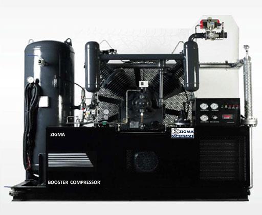 เครื่องปั๊มลมชนิดบู๊ทเตอร์ สามารถส่งแรงอัดได้ตั้งแต่ 5-10kg/cm2 สูงสุด 25-60kg/cm2