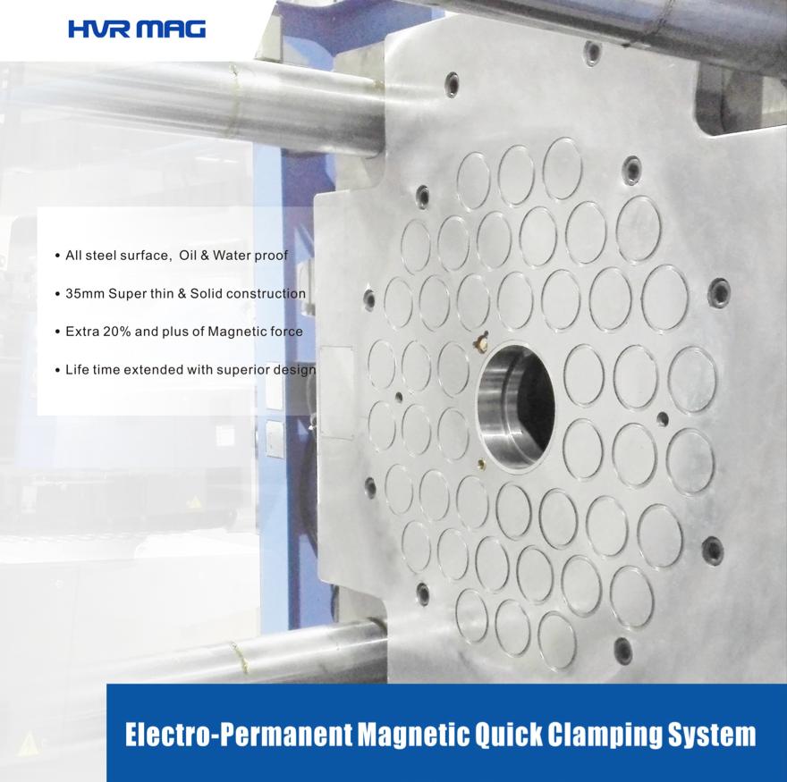 HQMC MAGNETIC QUICK MOLD - 強力な永久磁石はマグネットクランプの採用により金型交換時間の大幅短縮を可能にしました。これまで、30分以上を費やしていた金型交換が30秒で終了。