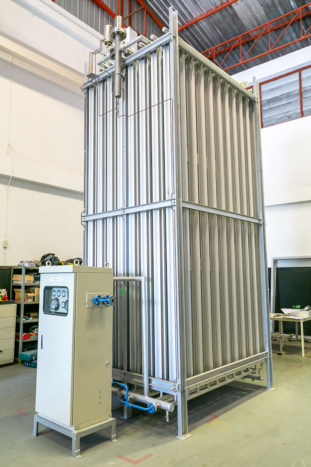 同社の顔となる「ベーパーライザーWMG-EV」シリーズ。3つの安全装置を備えることから高い安全性を誇る。またランニングコストを抑え、より高い生産性を実現する